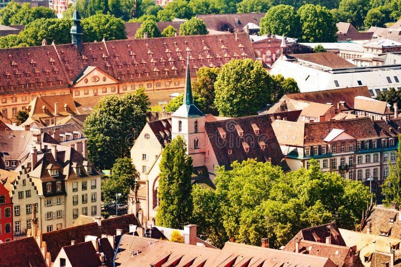 小教会地区视图在史特拉斯堡,法国 免版税库存图片