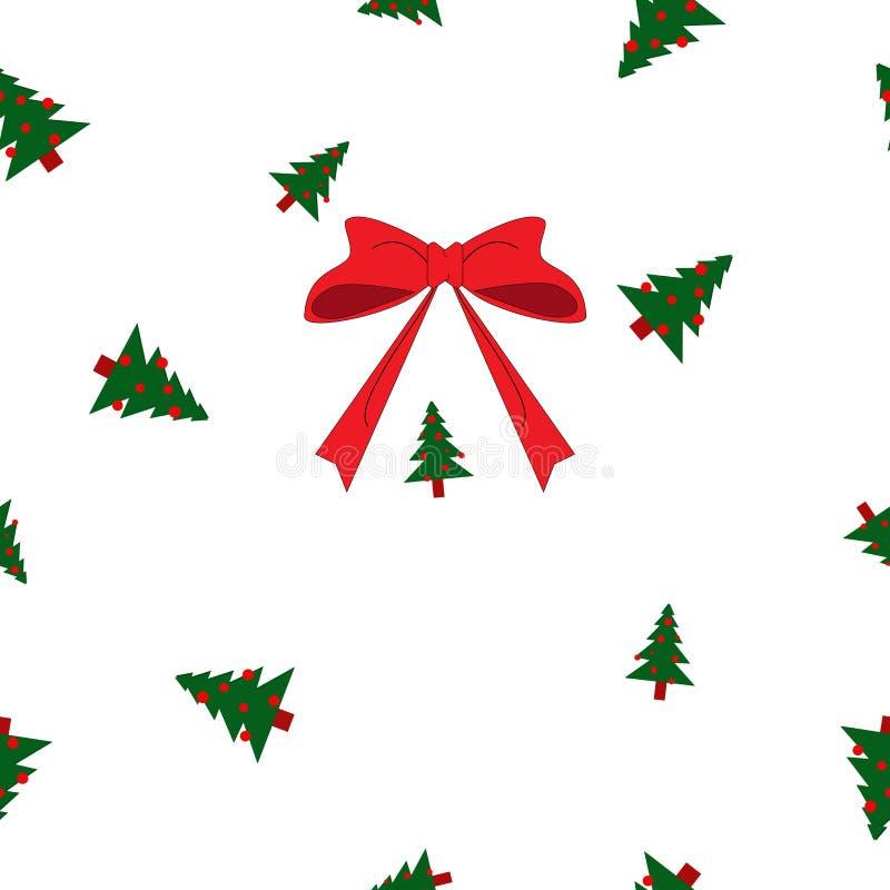 小无缝的样式绿色圣诞节的冷杉木大和,红色球和弓在白色背景 向量例证