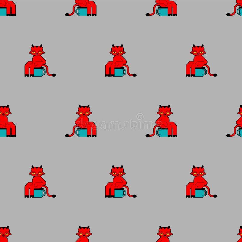 小无缝邪魔的样式 一点红魔背景 在傻的洗手间装饰品的小恶魔 儿童的布料纹理 向量例证