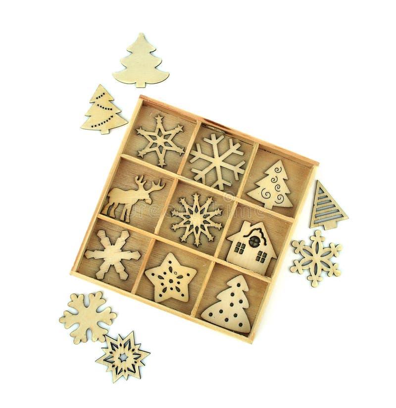 小木圣诞节装饰 查出 圣诞节木头inl 库存照片