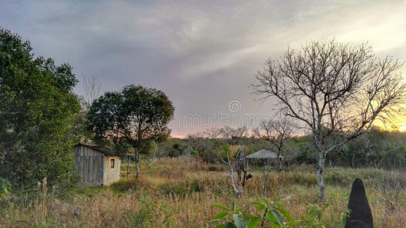 小木房子在乡下 免版税库存照片