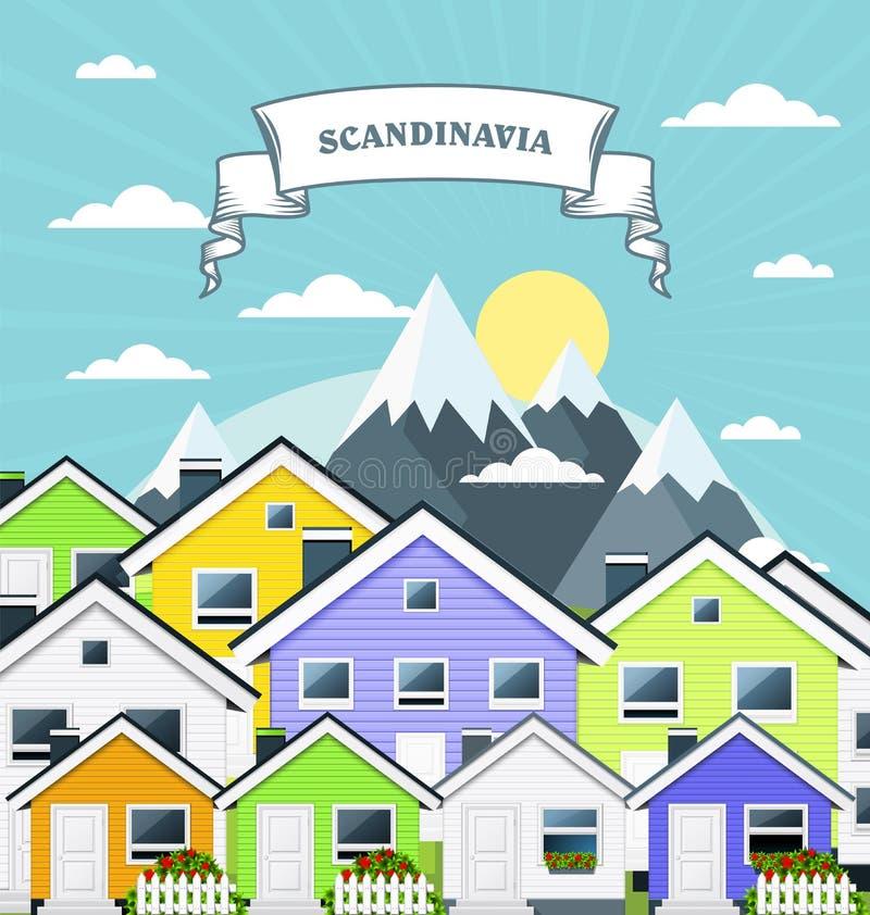 小村庄在挪威,斯堪的那维亚-杂色的村镇房子和山 向量例证