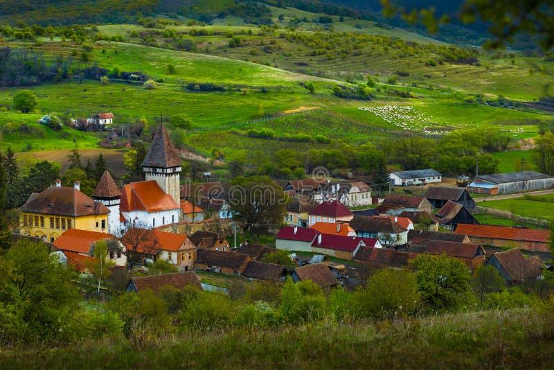 小村庄在锡比乌,罗马尼亚 库存照片