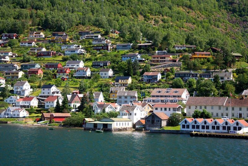 小村庄Aurland,挪威 库存图片