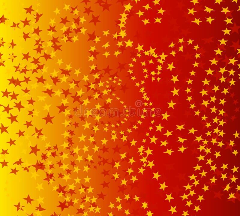 小束金模式红色的星形 向量例证