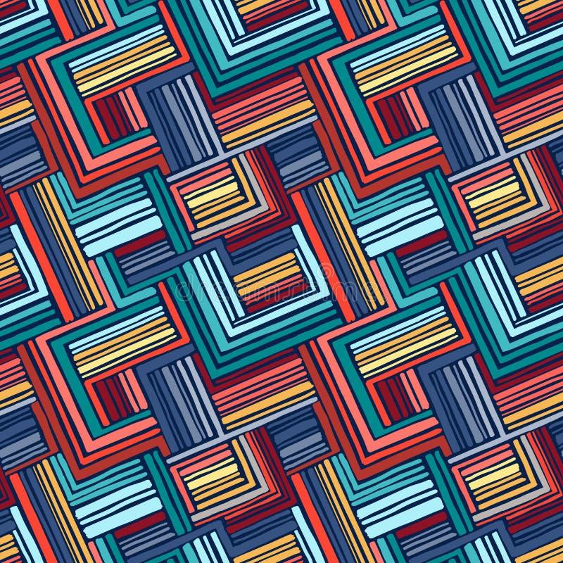 小条的手拉的无缝的几何装饰品 皇族释放例证
