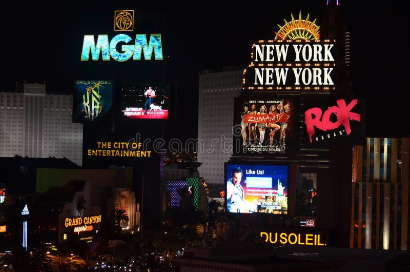 小条, MGM Grand,拉斯维加斯, MGM Grand拉斯维加斯,拉斯韦加斯大道,夜,霓虹灯广告,标志,氖 免版税库存图片