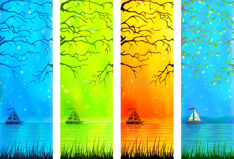 小横幅小船湖自然的风景 皇族释放例证