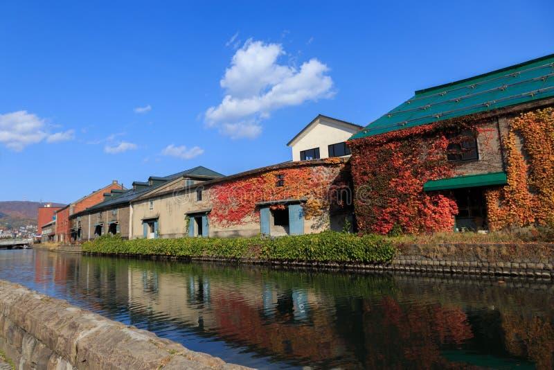 小樽运河在秋天,日本 免版税图库摄影