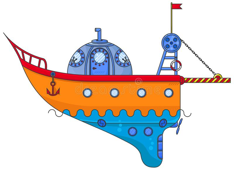 小橙色船-潜水艇 库存例证