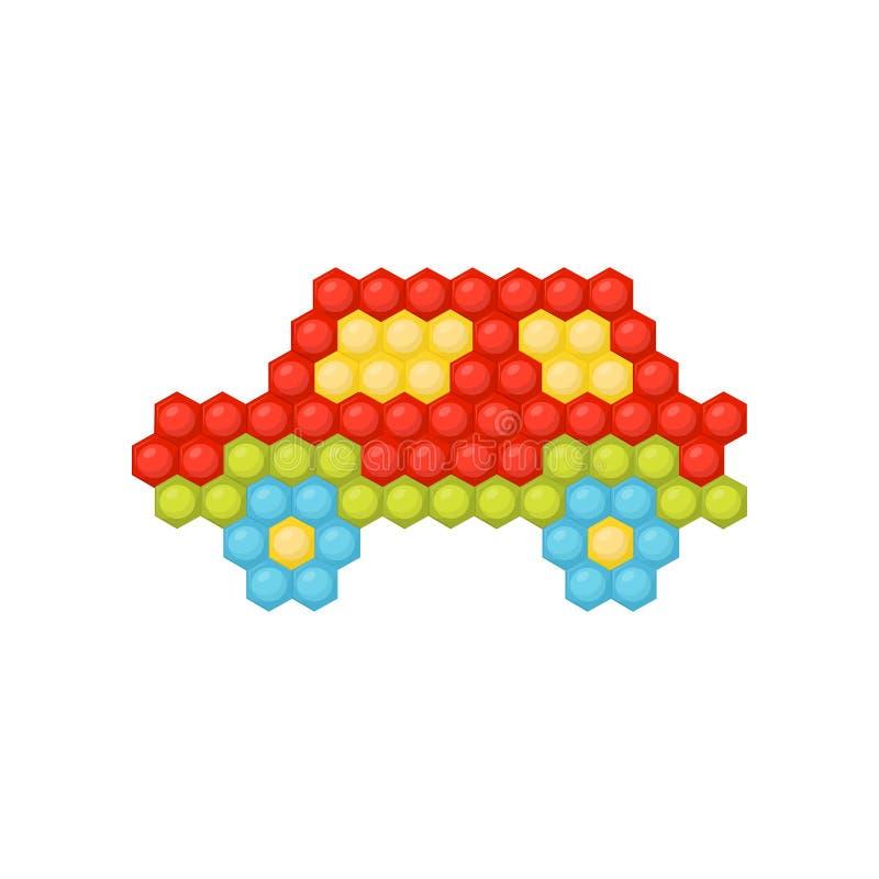 小汽车由多彩多姿的儿童s马赛克制成 儿童发育的创造性比赛 平的传染媒介设计 库存例证