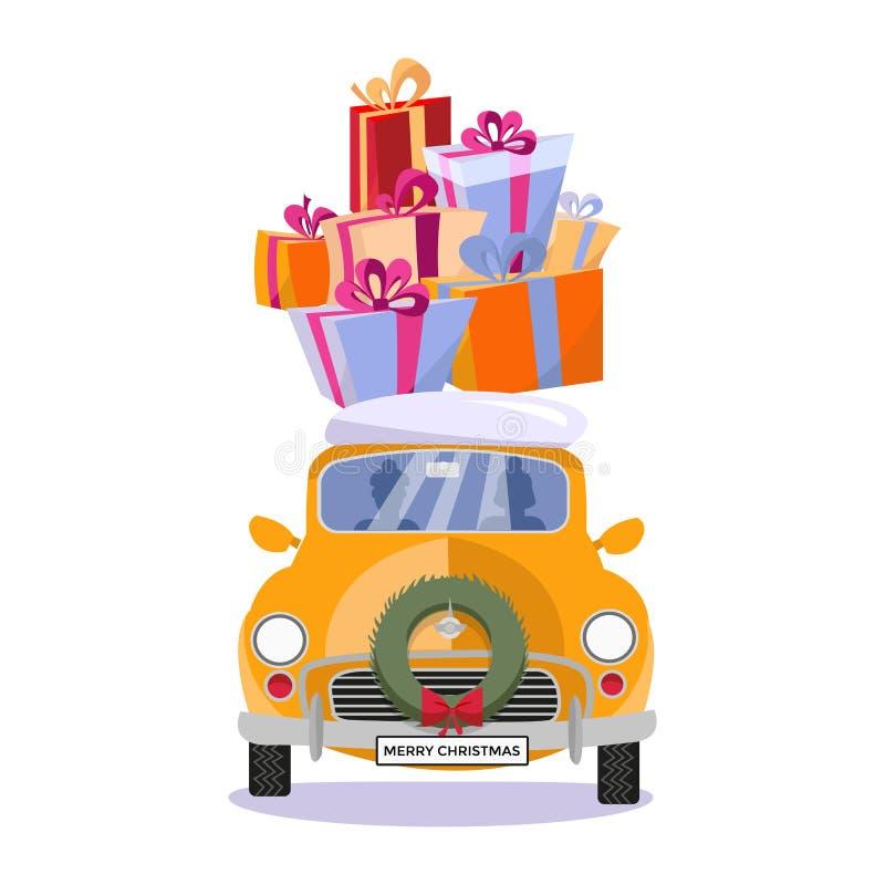 小汽车的平的传染媒介动画片例证有礼物的,礼物盒,在屋顶的雪 一点经典黄色汽车运载的礼物 向量例证