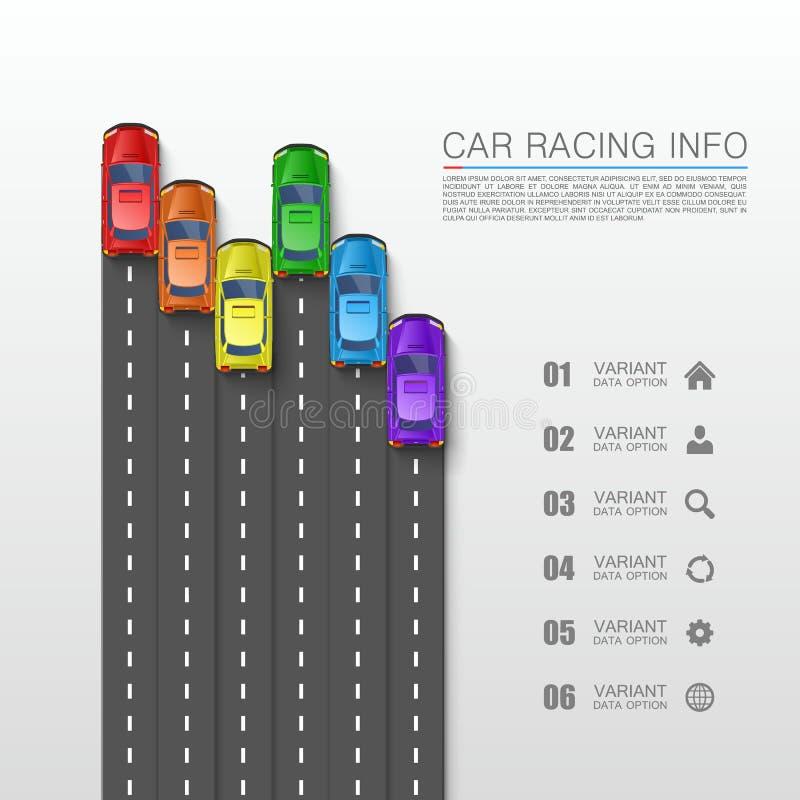 小汽车赛信息艺术盖子 库存例证