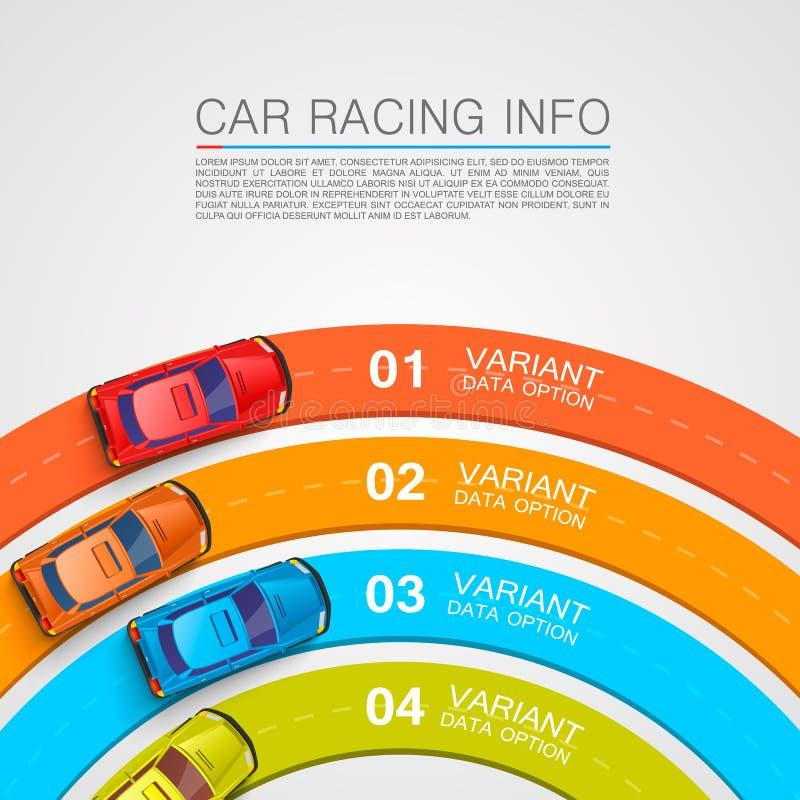 小汽车赛信息艺术盖子 向量例证
