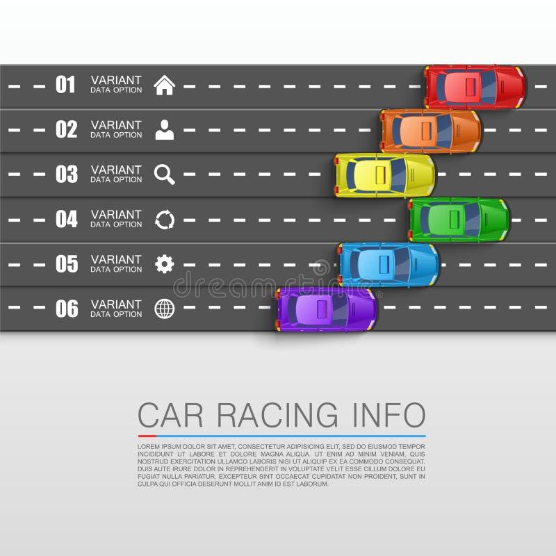 小汽车赛信息艺术盖子 皇族释放例证
