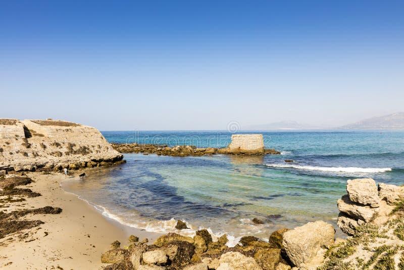 小沙滩在一个晴天 免版税库存照片