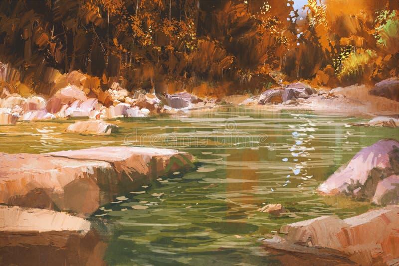 小河在秋天森林,自然,风景里 免版税库存照片
