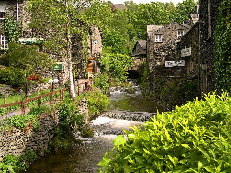 小河在Ambleside在英国湖区 库存图片