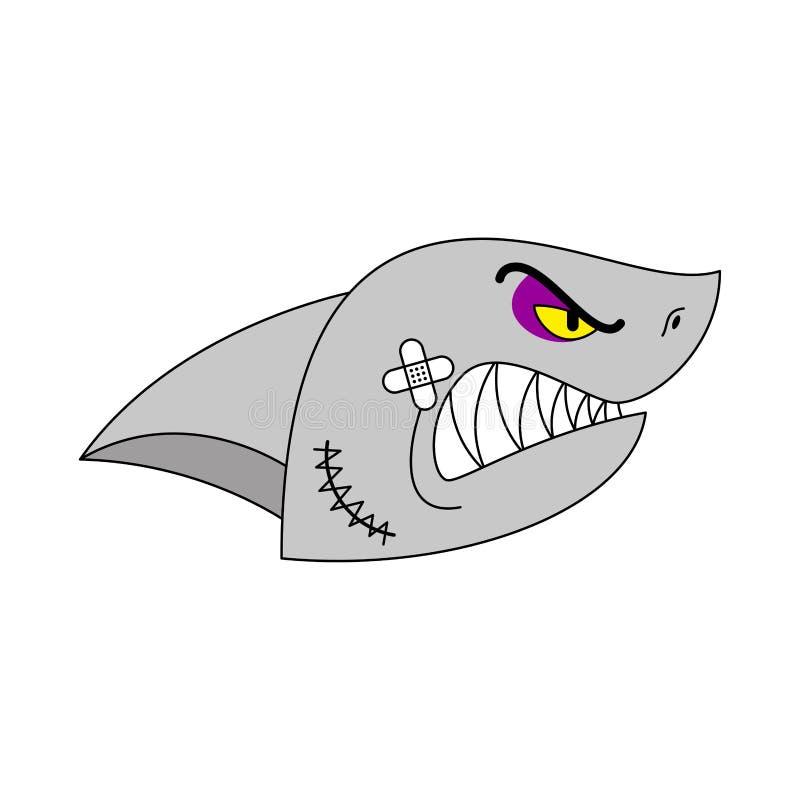 小流氓鲨鱼面孔 恶霸水掠食性动物 粗徒的大掠食性海鱼 r 向量例证