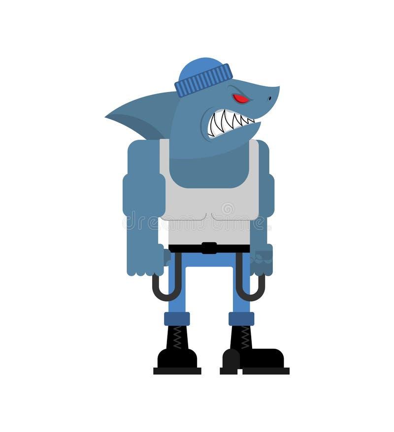 小流氓鲨鱼 恶霸水掠食性动物 粗徒的大掠食性海鱼 r 向量例证