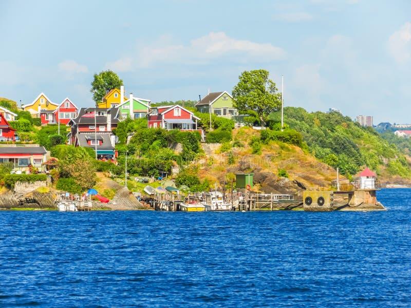 小海岛在奥斯陆海湾,挪威 库存照片