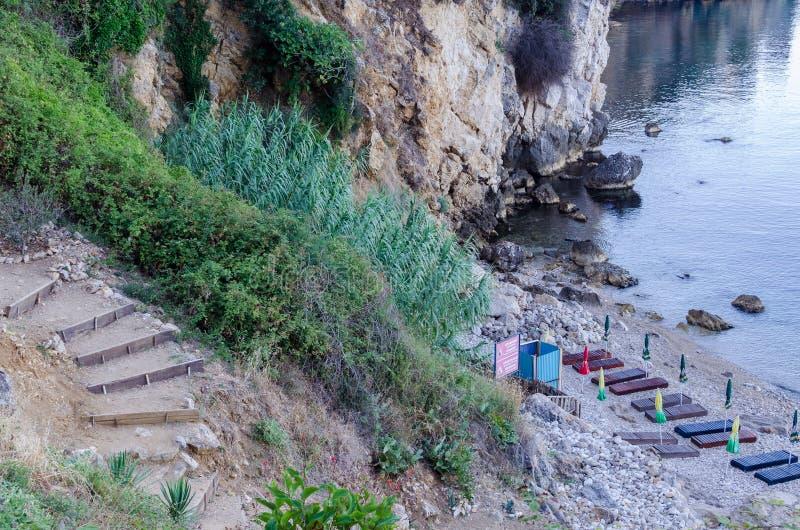 小海滩在乌尔齐尼,黑山 库存照片