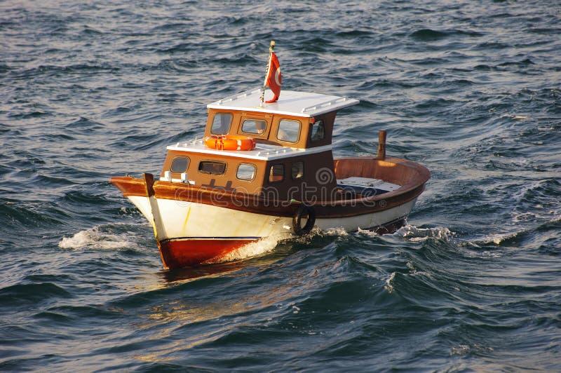 小渔船在马尔马拉海 库存图片