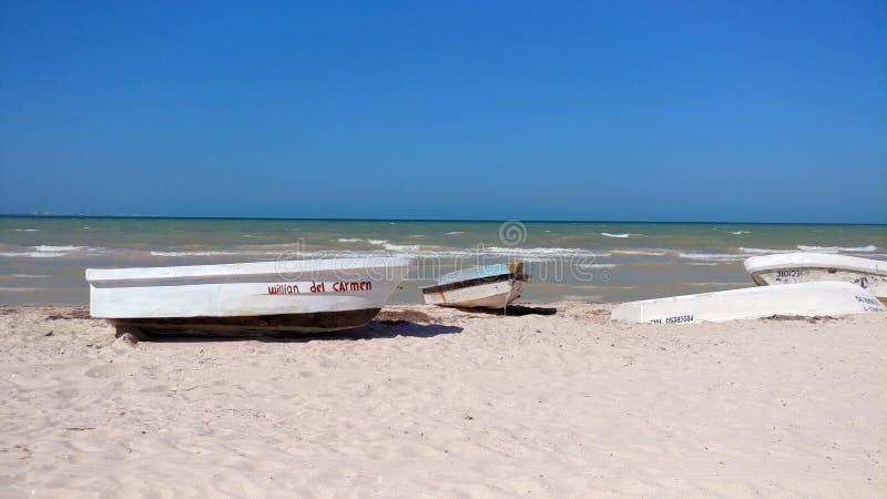 小渔船, Progreso,墨西哥 库存图片