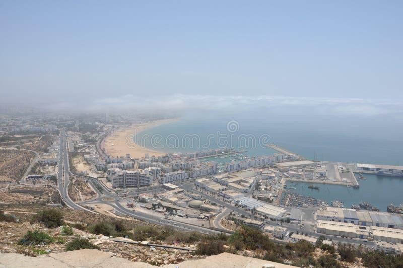 小游艇船坞和捕鱼港口在阿加迪尔摩洛哥 免版税库存图片