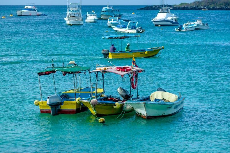 小游艇船坞在圣克里斯托瓦尔加拉帕戈斯群岛厄瓜多尔 库存照片