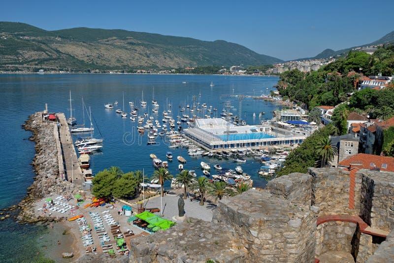 小游艇船坞新海尔采格,黑山 库存图片