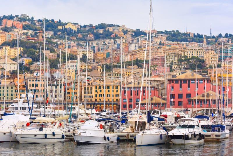 小游艇船坞波尔图Antico赫诺瓦,热那亚,意大利 库存图片