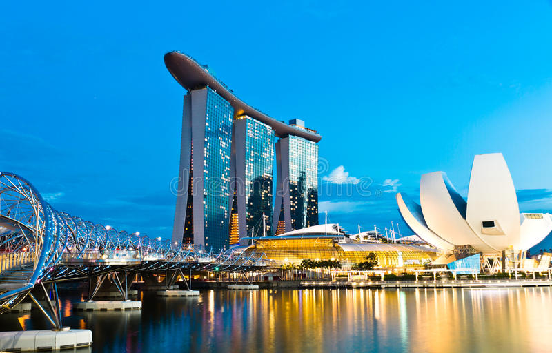 小游艇船坞海湾铺沙风景新加坡 免版税库存照片