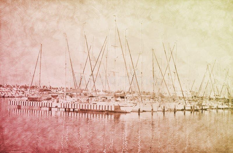 小游艇船坞码头抽象背景有小船的 铅笔剪影绘画样式 日落颜色 向量例证