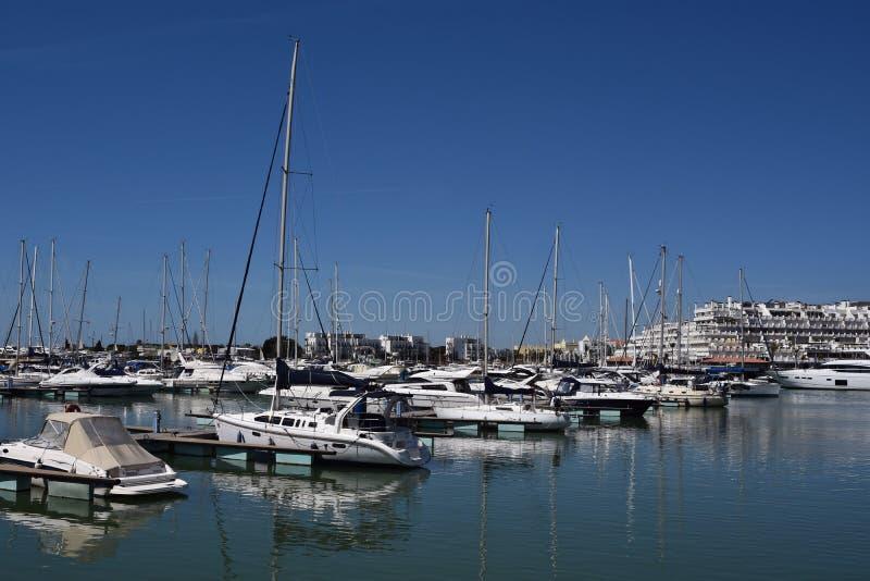 小游艇船坞莫拉镇,阿尔加威,葡萄牙,欧洲 库存图片