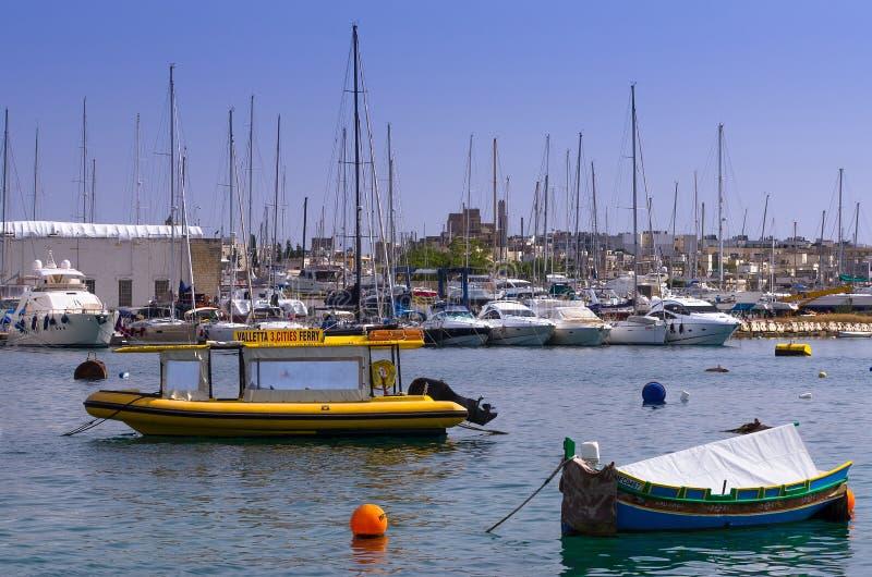 小游艇船坞,马努埃尔海岛,马耳他 免版税库存照片