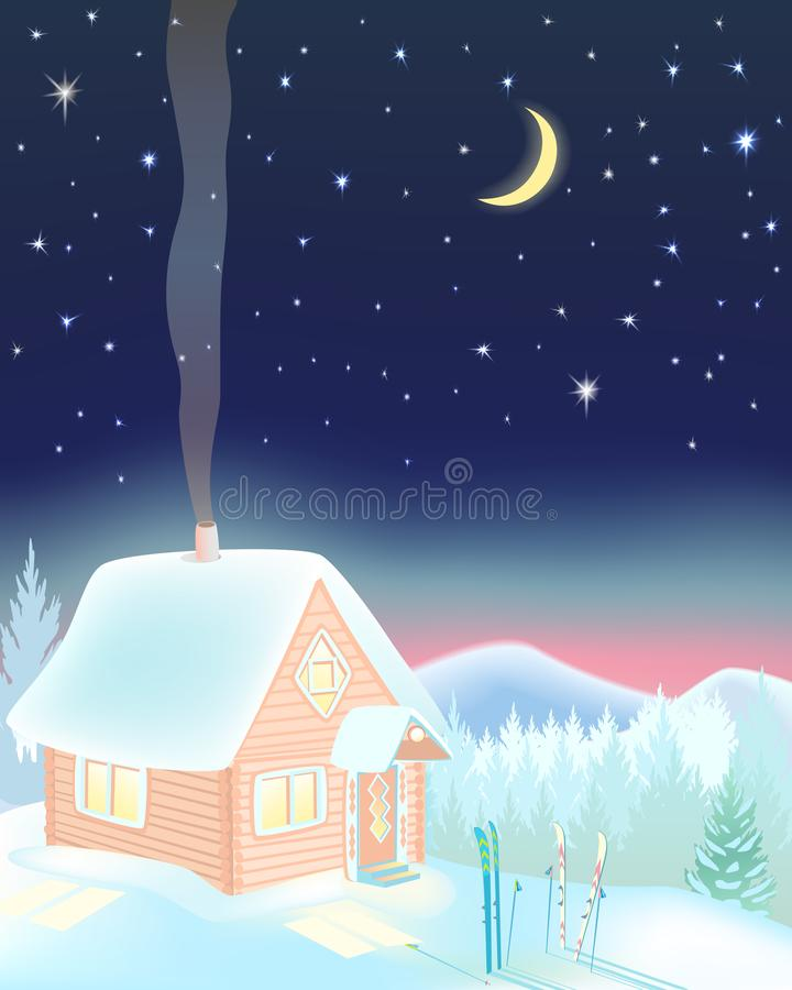 小滑雪房子在山的晚上 向量例证