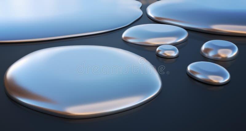 小滴液体金属-水银 3d被回报的例证 皇族释放例证
