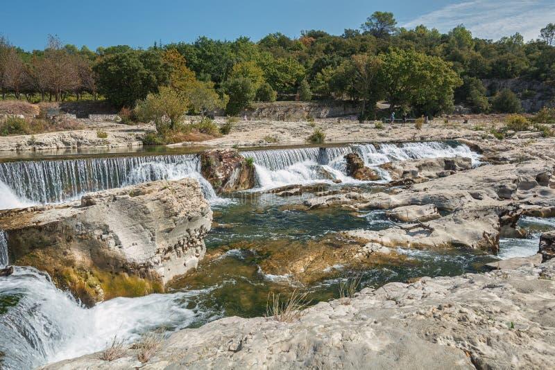 小瀑布du Sautadet,法国的壮观的瀑布和急流 免版税图库摄影