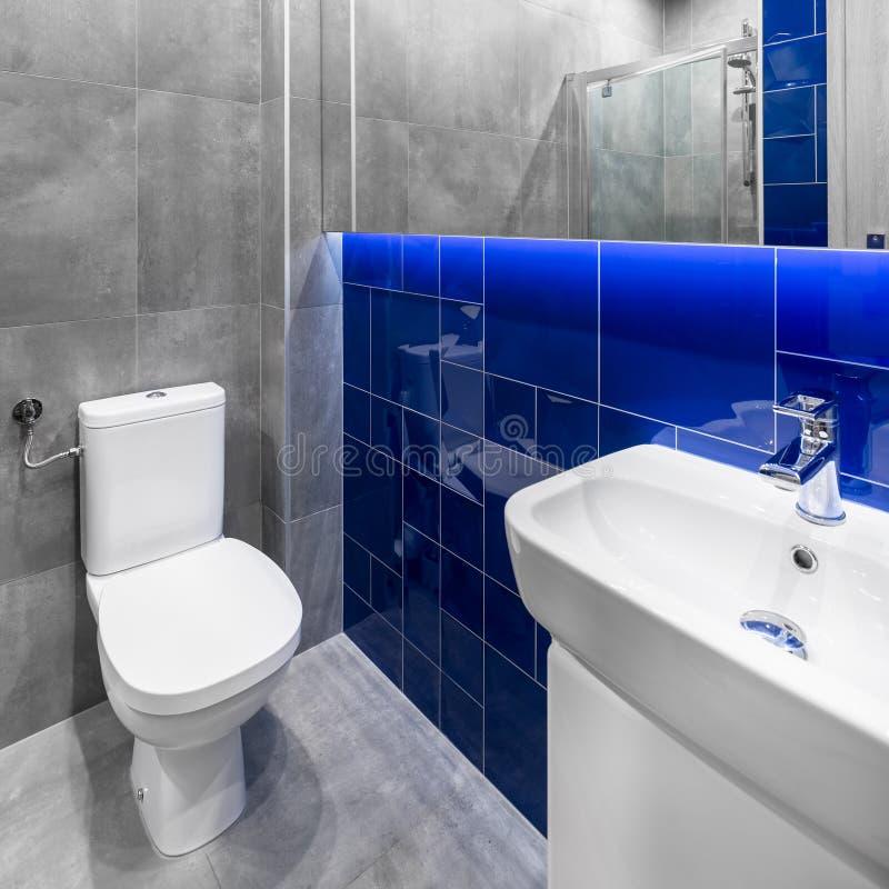 小灰色和蓝色卫生间 图库摄影