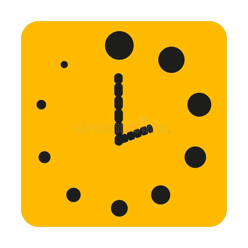 黑小点做了橙色时钟在白色背景 库存例证