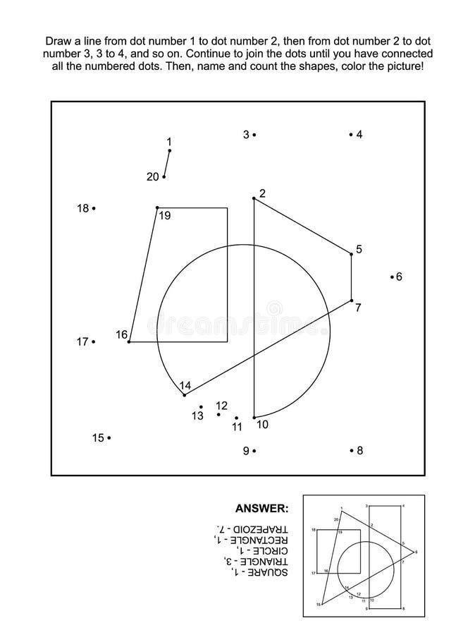 小点对小点和着色页与基本的几何形状 向量例证