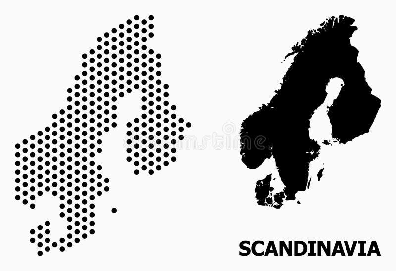 小点斯堪的那维亚的军用镶嵌地图 库存例证