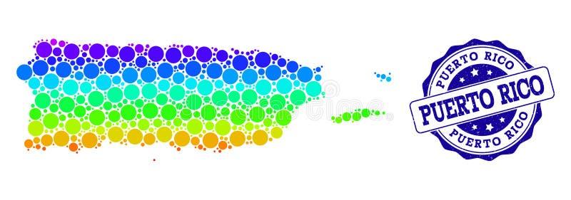 小点波多黎各和难看的东西邮票封印光谱地图  向量例证
