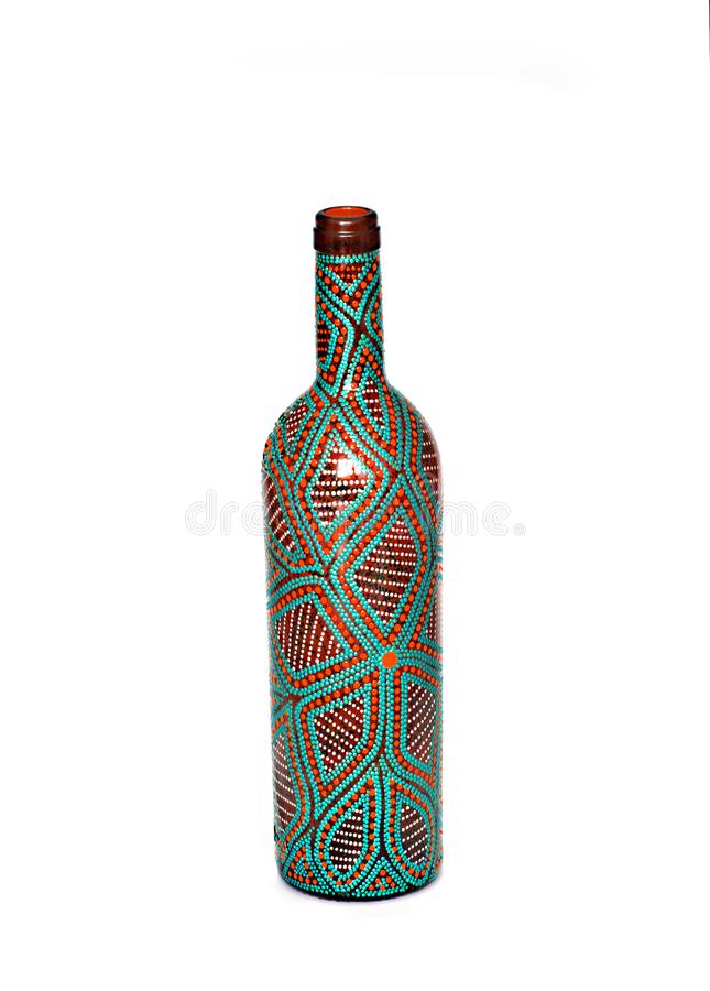小点绘画 瓶绘与油漆 非常好的装饰 孤立 免版税库存照片