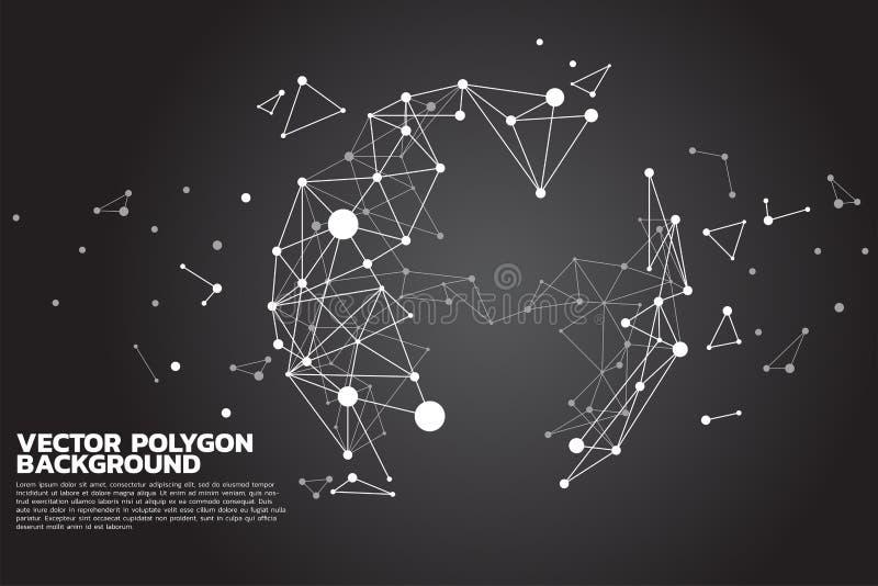 小点连接线多角形微粒修造到球形:未来派,大数据,数据的概念变换 向量例证