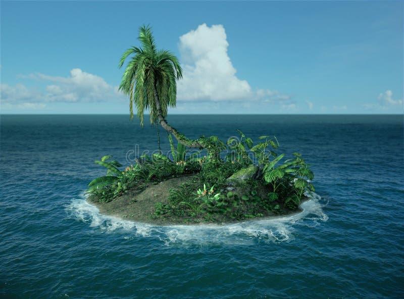 小热带海岛在海洋丢失了 免版税库存照片