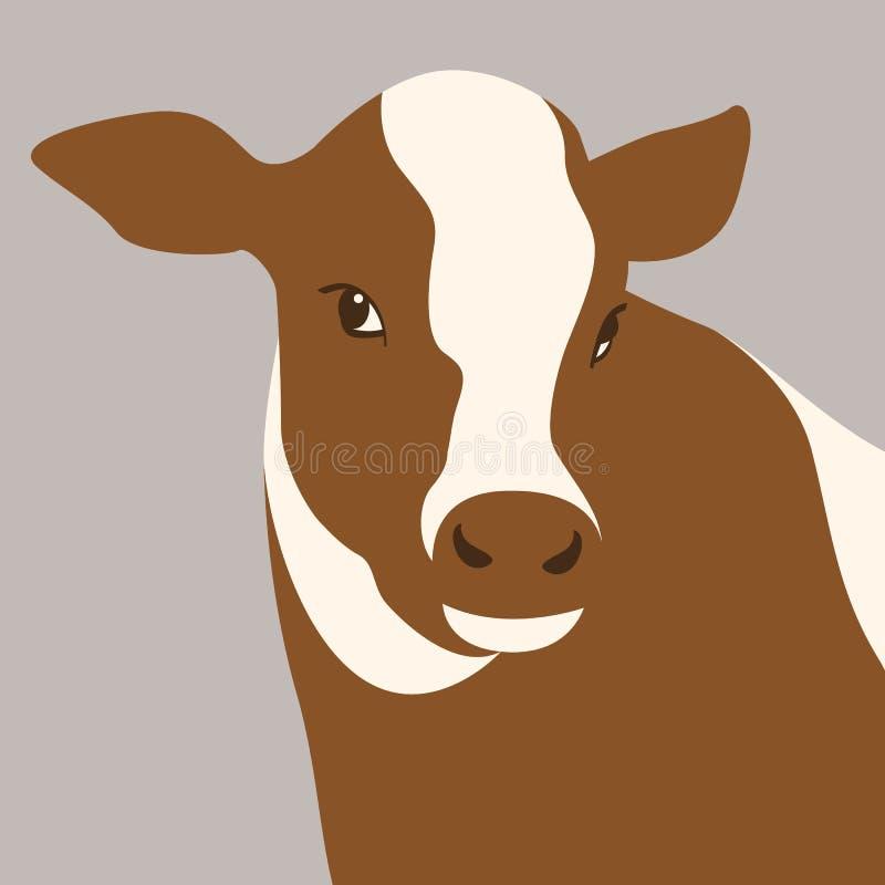 小牛母牛头传染媒介例证平的样式前面 皇族释放例证