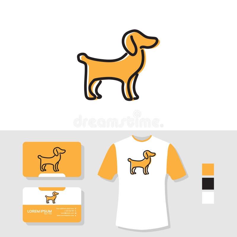 小狗与名片和T恤杉大模型的商标设计 皇族释放例证