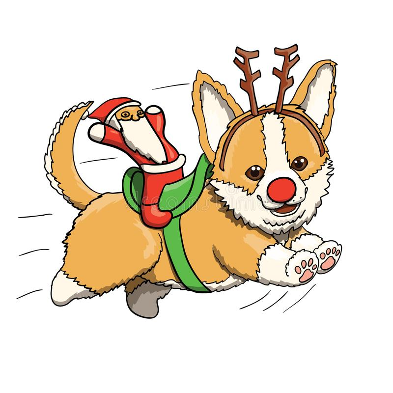 小狗与圣诞老人玩具的小狗驯鹿,全速微笑和运行 向量例证